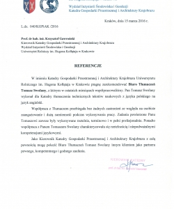Letter of recommendation from H. Kołłątaj Agricultural University in Kraków