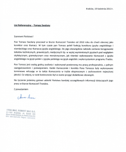 Letter of recommendation from Transleo Translation Agency